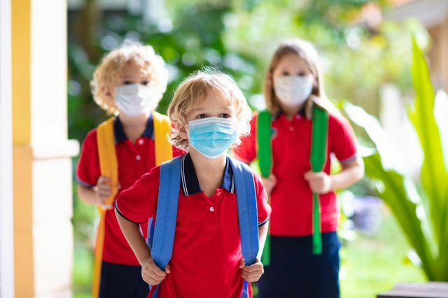 Schulkinder, Corona, Maske
