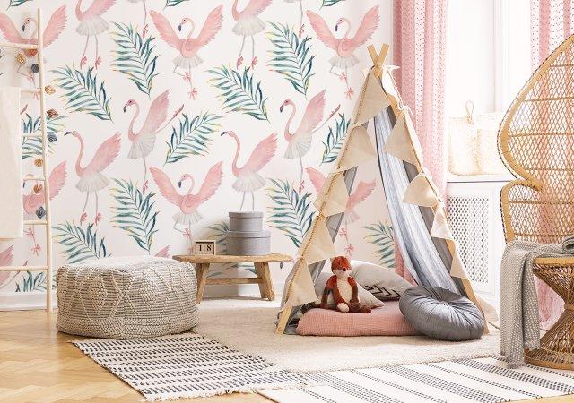 Fototapete pinke Flamingos im Mädchenzimmer