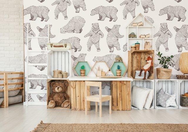 Fototapete mit Bären im Kinderzimmer