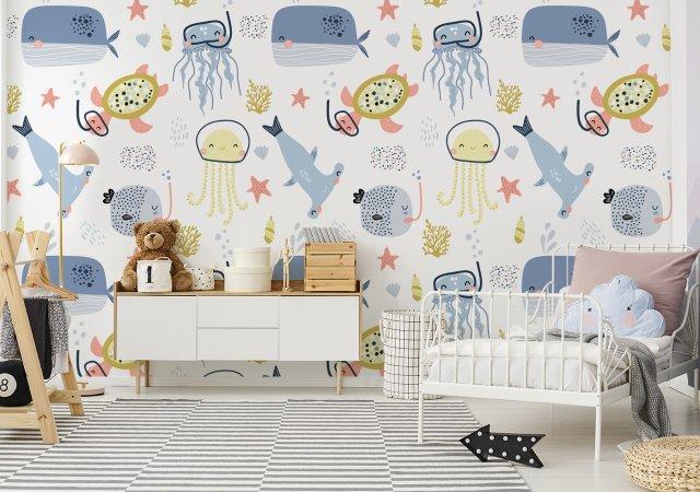 Mädchenzimmer mit Fototapete