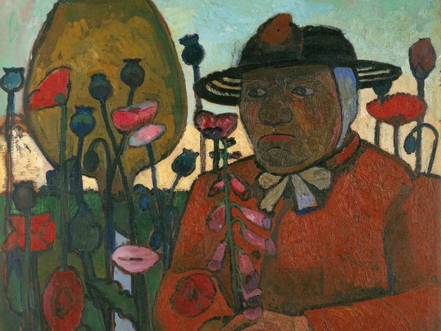 Paula Modersohn-Becker, Alte Armenhäuslerin im Garten mit Glaskugeln und Mohnblumen, 1906