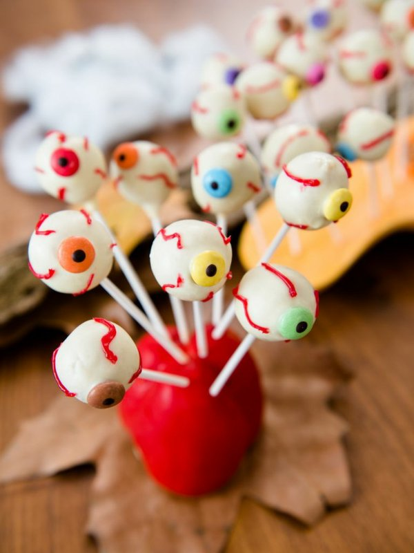 Halloween Rezept, Augäpfel am Spieß