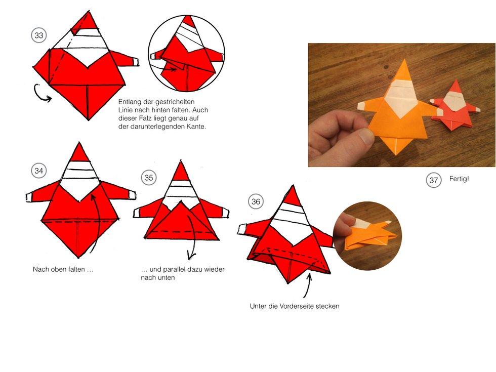 diy origami weihnachtsmann. Black Bedroom Furniture Sets. Home Design Ideas