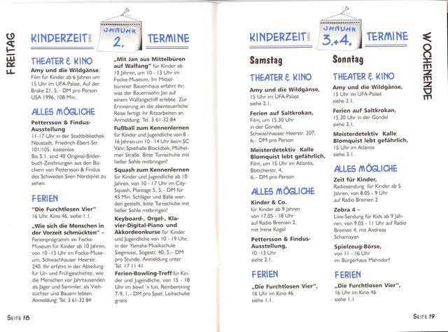 Kalenderauszug der 1. Ausgabe